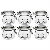 Heart Design Glass Storage / Food Preserve Jar (500ml) - Pack Of 6