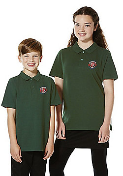 Embroidered School Polo Shirt - Bottle green