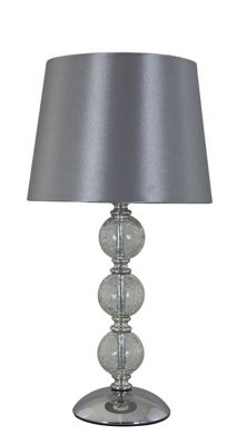 Clear Cracked Glass 3 ball Table Lamp with 8 inch Silver Shade
