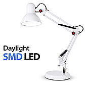 Adjustable Daylight LED Desk Lamp, Gloss White