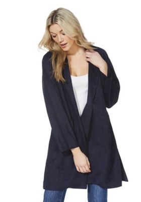 F&F Faux Suede Open Front Trench Coat Navy XL