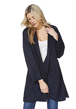 F&F Faux Suede Open Front Trench Coat - Navy