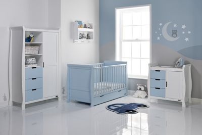 Obaby Stamford Cot Bed 4 Piece Sprung Mattress Nursery Room Set - Bonbon Blue Cotbed, Bonbon Blue Drawers