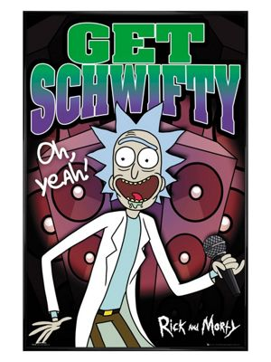 Rick And Morty Gloss Black Framed Schwifty Poster 61 x 91.5cm