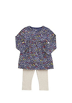 F&F Floral Tunic and Ribbed Leggings Set - Navy
