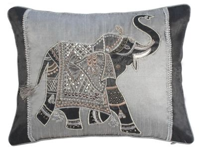 Silver Elephant Cushion Embroidered Beaded Design