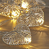 Battery Powered 10 Silver Heart Christmas Lights, Warm White