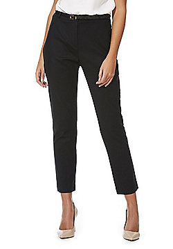 F&F Ankle Grazer Slim Leg Trousers with Belt - Black