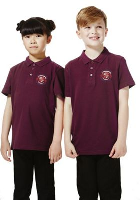 Unisex Embroidered School Polo Shirt 3-4 years Burgundy