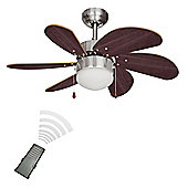 Minisun Typhoon Remote Control 30 inch Ceiling Fan with Light - Brushed Chrome