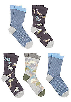 F&F 5 Pair Pack of Dinosaur and Striped Ankle Socks - Blue & Multi