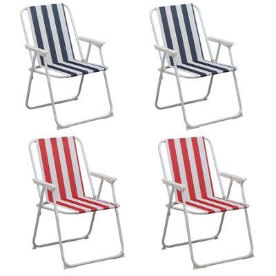 Harbour Housewares Folding Metal Beach / Garden Armchair - Blue / Red x4