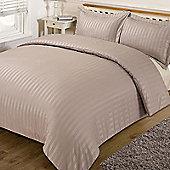 Dreamscene Satin Stripe Quilt Duvet Cover with Pillow Case Single Double King - Brown