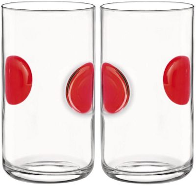 Bormioli Rocco Giove Water Tumbler Glasses - Set Of 2 - Red - 490ml
