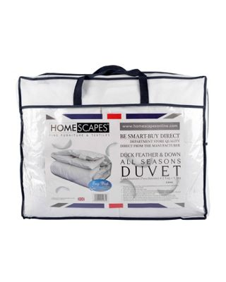 Homescapes Duck Feather and Down Duvet All Season (9 Tog + 4.5 Tog) Super King Size Luxury Quilt