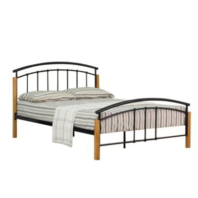 Comfy Living 4ft6 Double Metal and Wood Headboard Detail Bed Frame in Black with Basic Budget Mattress