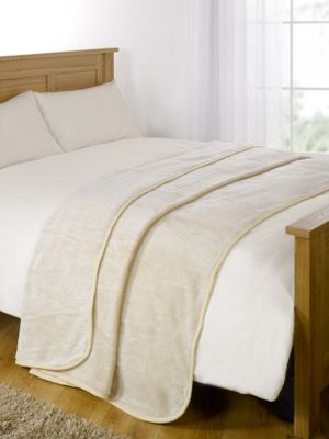 Dreamscene Large Faux Fur Throw Sofa Bed Blanket Warm, Cream - 125 x 150 cm