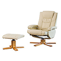 Sofa Collection Feliz Swivel Chair With Massage/Heat Function And Footstool - Cream