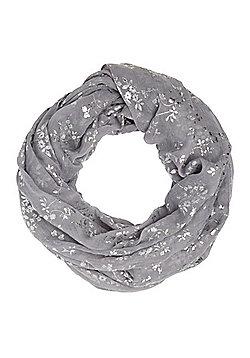 F&F Floral Foil Print Snood - Grey