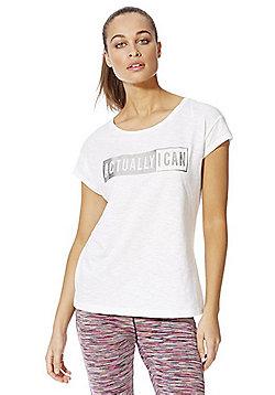 F&F Active Slogan T-Shirt - White