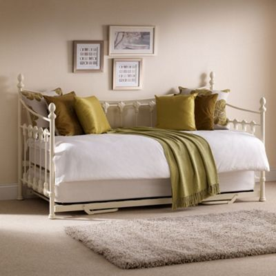 Happy Beds Versailles Metal Day Bed with Underbed Trundle Guest Bed and 2 Memory Foam Mattresses - Stone White - 3ft Single