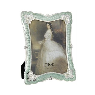 Silver and Duck Egg Classic Floral Photo Frame 5 x 7