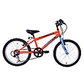 "Ammaco Warrior Boys 18"" Wheel Mountain Bike 6 Speed Orange & Blue"