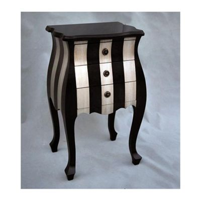 Black and Silver Bedside Table Width: 47cm