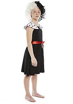Disney 101 Dalmatians Cruella de Vil Fancy Dress Costume - Black
