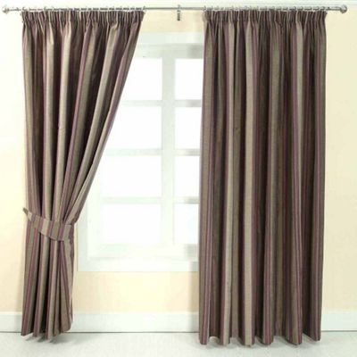 Homescapes Purple Jacquard Curtain Modern Striped Design Fully Lined - 66