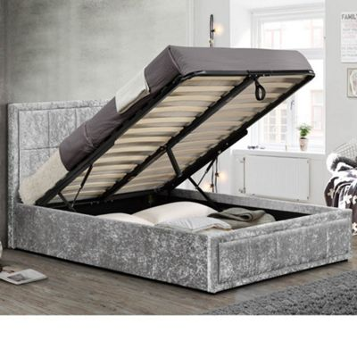 Happy Beds Hannover Crushed Velvet Fabric Ottoman Storage Bed with Memory Foam Mattress - Steel - 5ft King