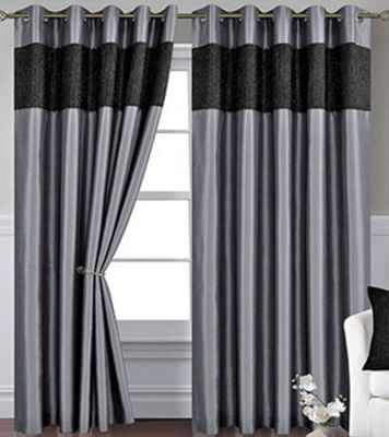 Silver Eyelet Curtains 54s - Venice