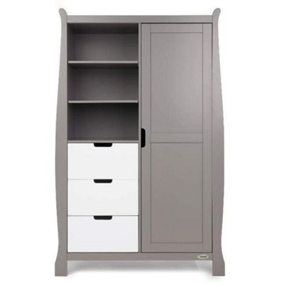 OBaby Stamford Double Wardrobe (Taupe Grey with White)