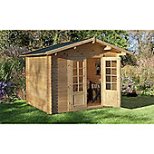 2.2m x 2.2m Log Cabin With Double Doors - 28mm Wall Thickness - INSTALLED