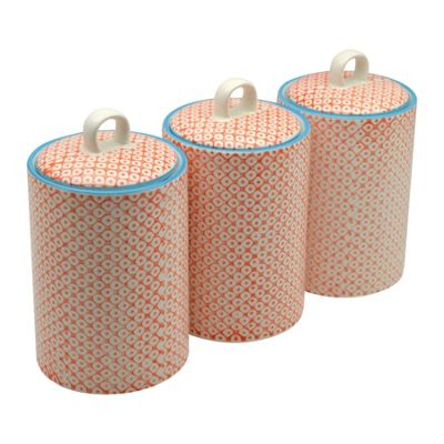 Nicola Spring Patterned Porcelain Tea / Coffee / Sugar Canisters - Orange Print Design - Pack Of 3