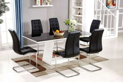 Murano Black/White High Gloss And Glass Dining Table And 6 Chairs
