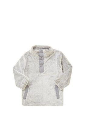 Minoti Faux Fur Button Neck Top Grey 12-18 months