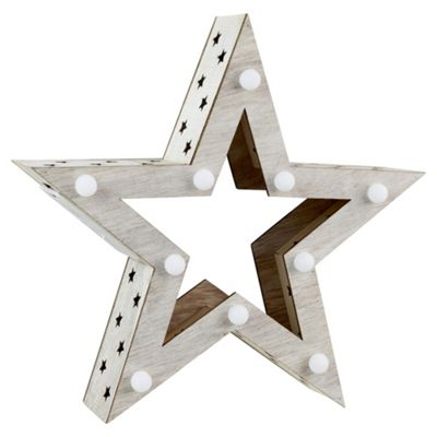 30cm Wooden Star Christmas Ornament with Battery Operated LEDs