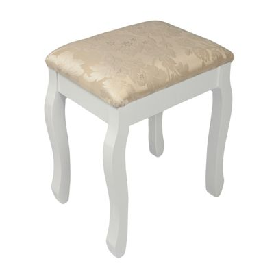 Woodluv Upholstered Wooden Dressing Table Padded Stool