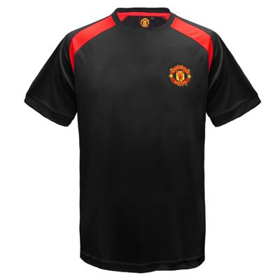 Manchester United FC Boys Poly T-Shirt Black 6-7 Years