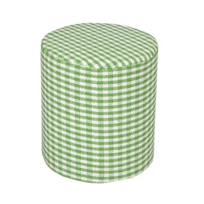 Homescapes Cotton Round Pouffe Green Gingham Check, 40 x 42 cm