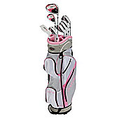 Golfgirl Fws3 Ladies Petitie Complete All Graphite Pink Left Hand Golf Clubs Set W/ Cart Bag