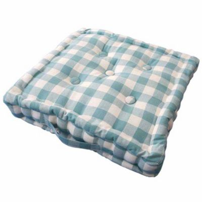 Homescapes Cotton Blue Block Check Floor Cushion, 40 x 40 cm