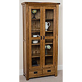 Cotswold Rustic Solid Oak & Glass Display Cabinet