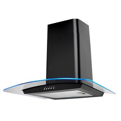 SIA 70cm Multi Colour LED Curved Glass Black Cooker Hood Kitchen Extractor Fan