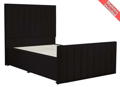 Luxan Hampstead Dun Colours Bed Set - Black - Double 4ft6 - 4 Drawers