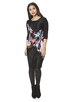 Y by Yumi Floral Print Knotted Jersey Dress - Black