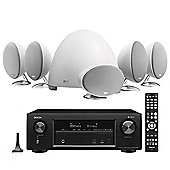 Denon AVR-X1400 7.2 Channel Receiver with KEF E305 5.1 Speaker Package (White)
