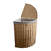 Small Willow Wicker Corner Laundry Basket with Lid in Natural