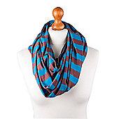 Nursing Scarf - Blue/Brown Stripe